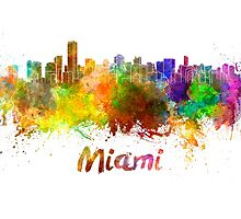 Miami skyline in watercolor by paulrommer