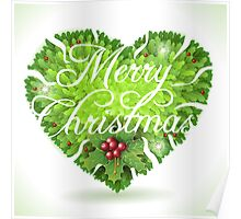 Christmas Holly Leaves Heart Poster