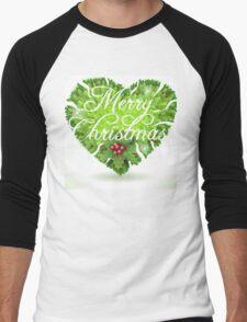 Christmas Holly Leaves Heart Men's Baseball ¾ T-Shirt