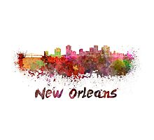 New Orleans skyline in watercolor Photographic Print