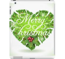 Christmas Holly Leaves Heart iPad Case/Skin