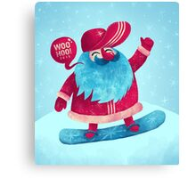Snowboarding Christmas Canvas Print