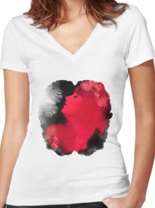 Psychedelic Ink Red Girl Women's Fitted V-Neck T-Shirt