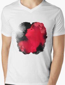 Psychedelic Ink Red Girl Mens V-Neck T-Shirt