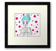 Doll girl with heart mouth Framed Print