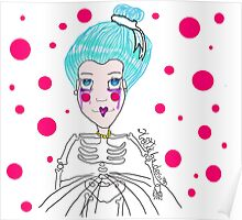 Doll girl with heart mouth Poster