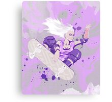 Skate Girl Purple Fly Canvas Print