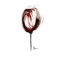 Glass of wine painting watercolor art print purple by Joanna Szmerdt