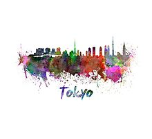 Tokyo skyline in watercolor Photographic Print