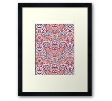 Natural Rhythm - a hand drawn pattern in peach, mint & aqua Framed Print