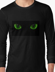 Two green cat eyes Long Sleeve T-Shirt