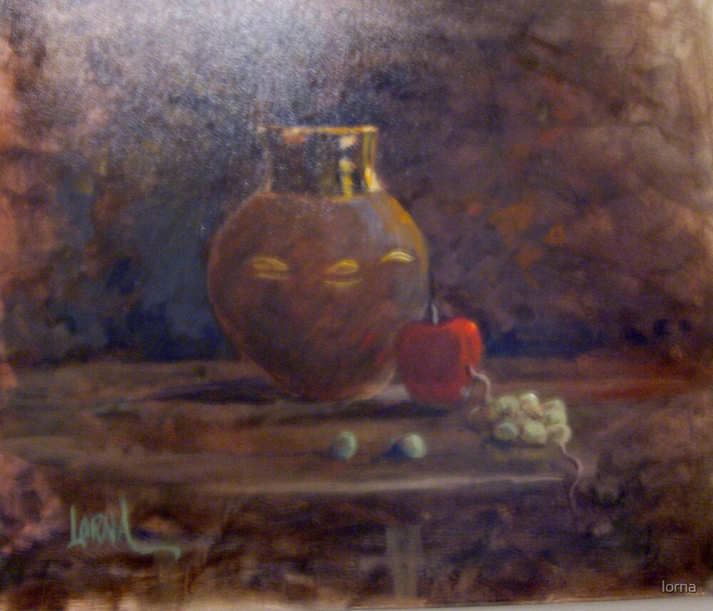 Gold jug with apple by lorna