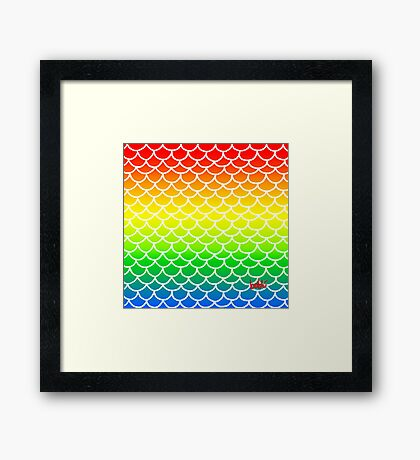 Fish Scales Rainbow Framed Print