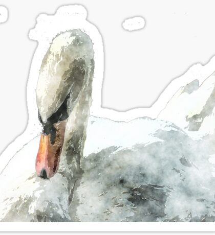 Swan of the canals in watercolour  Sticker