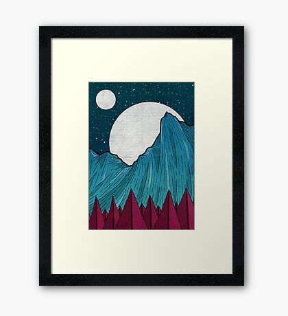 Two moons over the mountain Framed Print