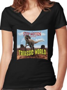 Triassic World Women's Fitted V-Neck T-Shirt