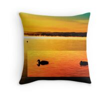 Ducks on Lake Burley Griffin Throw Pillow