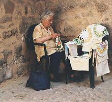 Lady knitting lace, Portugal by Rachel Gellert