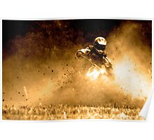 Gold Motorbike Enduro Action Poster