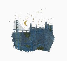 San Francisco skyline old map One Piece - Short Sleeve