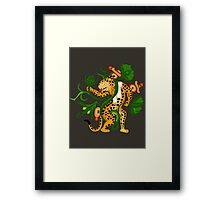 Mayan jaguar playing with a waterlily Framed Print