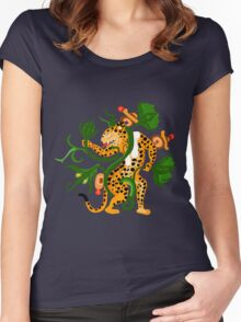 Mayan jaguar playing with a waterlily Women's Fitted Scoop T-Shirt