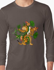 Mayan jaguar playing with a waterlily Long Sleeve T-Shirt