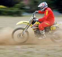 Enduro motorbike rider 119 in red and yellow by dieselelephants