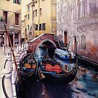 Two Gondolas - Venice canal. by Helen Lush