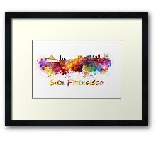 San Francisco skyline in watercolor Framed Print