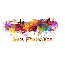 San Francisco skyline in watercolor Photographic Print