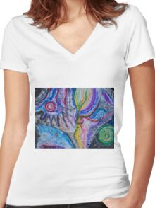 Madness in space  Women's Fitted V-Neck T-Shirt