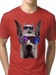 cat sunglasses dog Tri-blend T-Shirt