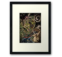 Japanese dragon and koi fish  Framed Print