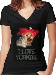 My Yorkie (ZOE) Women's Fitted V-Neck T-Shirt