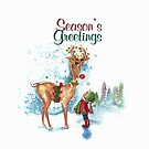 Season's Greetings, Red Nosed Reindeer by Robin Pushe'e