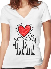 Keith Haring Care Women's Fitted V-Neck T-Shirt