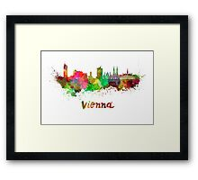 Vienna skyline in watercolor Framed Print