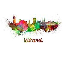 Vienna skyline in watercolor Photographic Print
