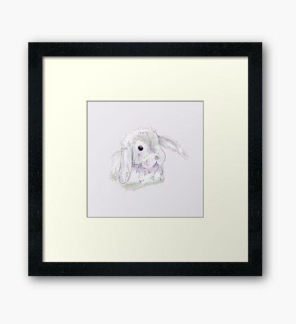 Cute white bunny illustration  Framed Print