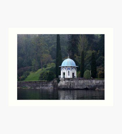 Gazebo on Lake Como, Italy Art Print