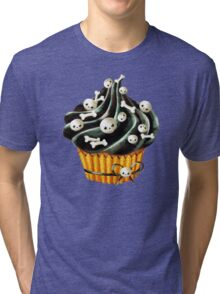 Black Halloween Cupcake Tri-blend T-Shirt
