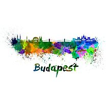 Budapest skyline in watercolor Photographic Print