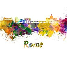 Rome skyline in watercolor by paulrommer
