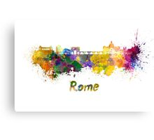 Rome skyline in watercolor Canvas Print