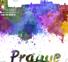 Prague skyline in watercolor Sticker