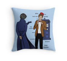 Sherlock meets the Doctor Throw Pillow