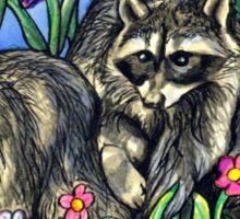 Racoons in The Garden Sticker