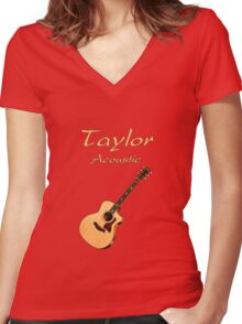 Taylor Acoustic Guitar Women's Fitted V-Neck T-Shirt