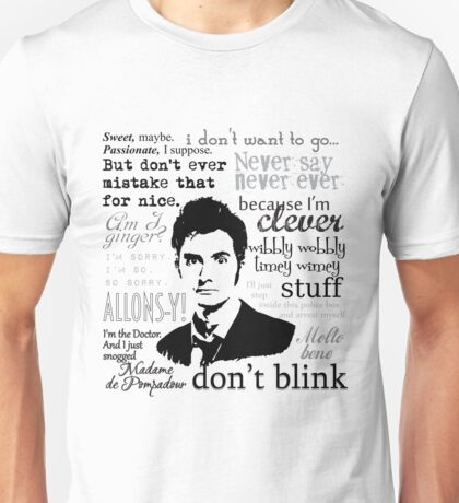 Tenth Doctor - on white Unisex T-Shirt